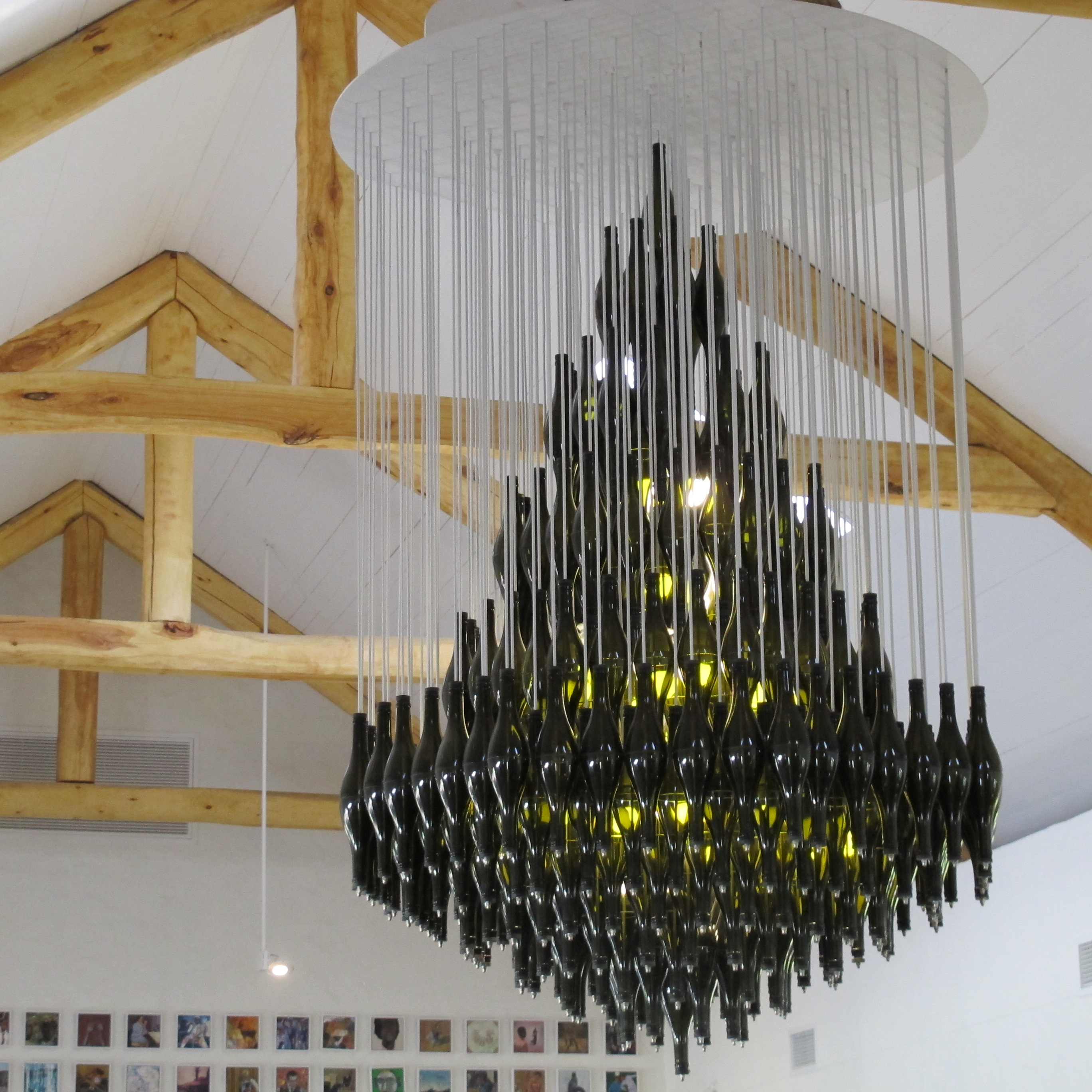 1000 images about wine bottle glass chandeliers on pinterest bar recycled wine bottles and - Glass bottle chandelier ...